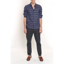 Plaid Cotton Shirt-Royal Blue-L
